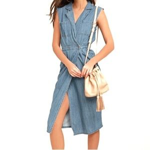 NWT MINKPINK Chambray Wrap Denim Midi Dress